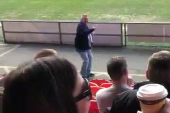 Dancing Peterborough fan at Blackpool