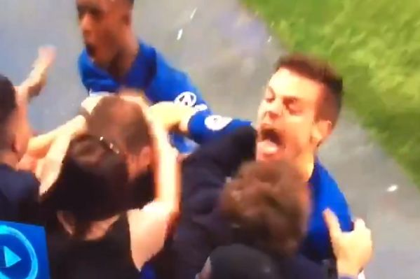 Chelsea fan buries Gonzalo Higuaín's head in her breast celebrating his goal against Burnley