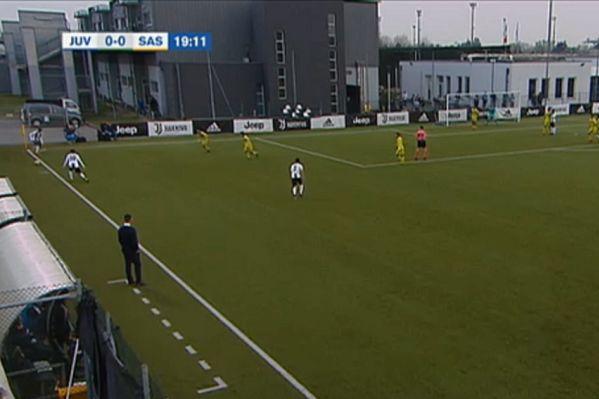 Juventus U-19 winger Mamadou Kaly Sene puts short corner out for Sassuolo throw-in