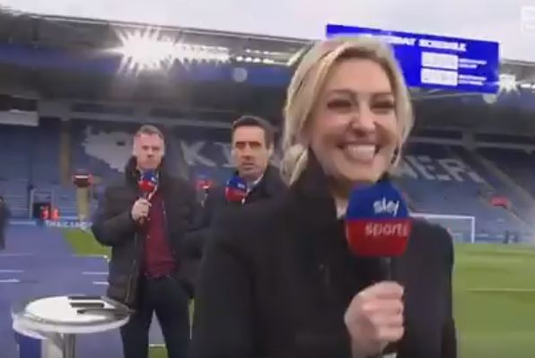 Sky Sports presenter Kelly Cates gets her revenge on Jamie Carragher and Gary Neville by turning and walking away from them to answer a question