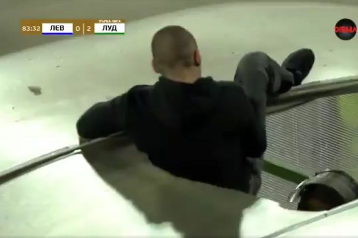 Levski Sofia fan falls through roof of tunnel after jumping on it after red card in 0-2 defeat to Ludogorets