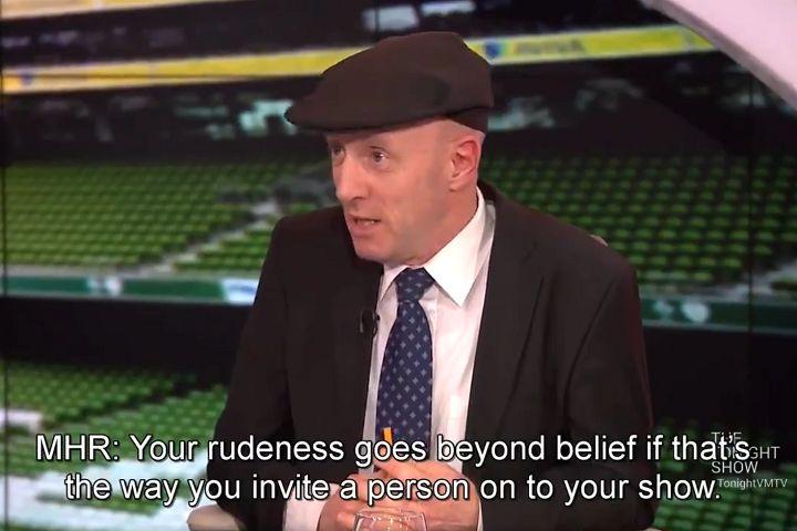 Presenter Ivan Yates and Irish politician Michael Healy-Rae argue over the FAI's John Delaney
