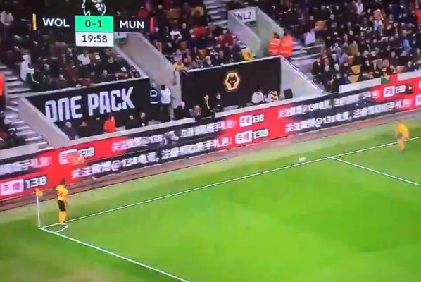 Wolves midfielder João Moutinho passes corner straight out of play during 2-1 win over Man Utd