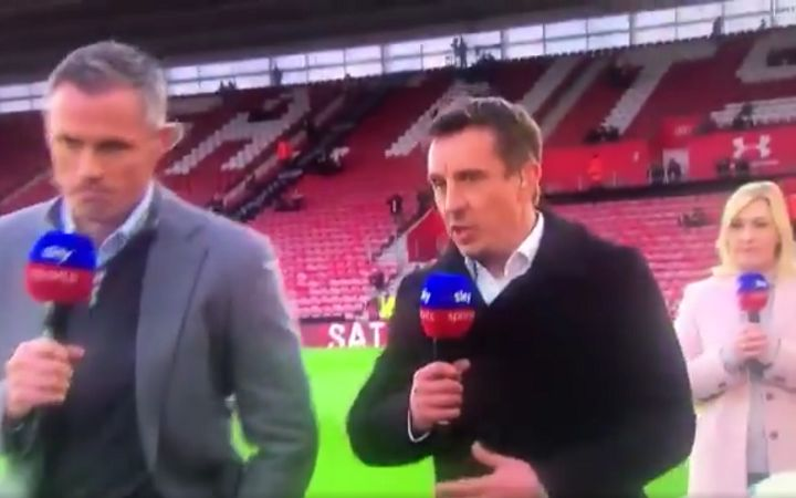 Pundits Gary Neville and Jamie Carragher walk away from presenter Kelly Cates while answering her question on Sky Sports before Southampton vs Liverpool