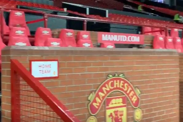 The Old Trafford dugout where journalist Simon Peach spotted a sex toy following Man Utd 2-1 West Ham