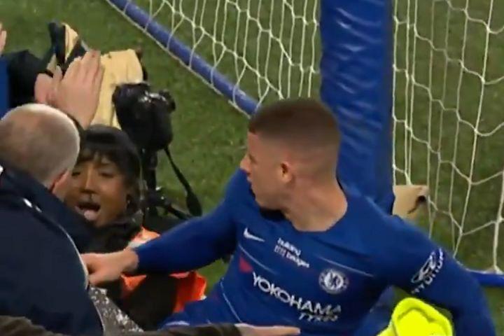 Ross Barkley slides into steward at Stamford Bridge during Chelsea vs West Ham