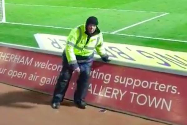 Rotherham stewards breaks advertising board as Aston Villa score penalty