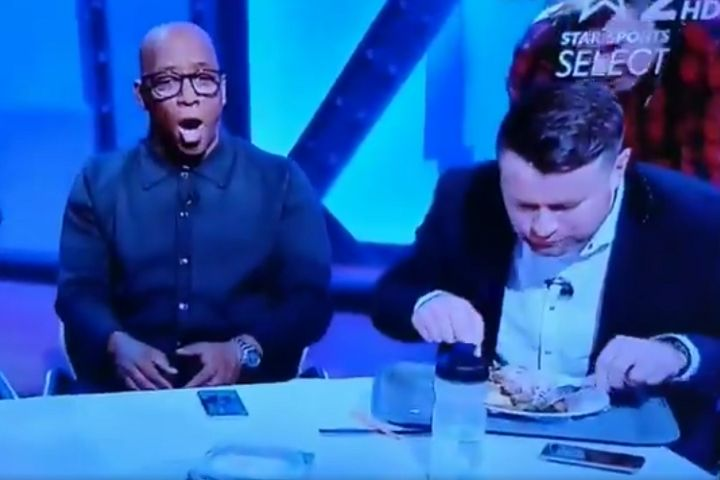 Shay Given eats food as Salah scores against Chelsea and the other pundits celebrate