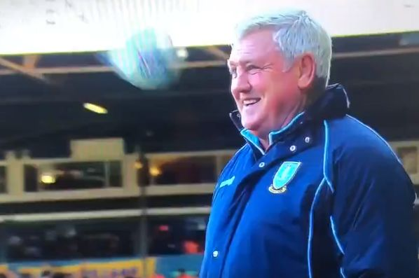Steve Bruce had a delayed reaction to this ball flying past him during Leeds v Sheffield Wednesday