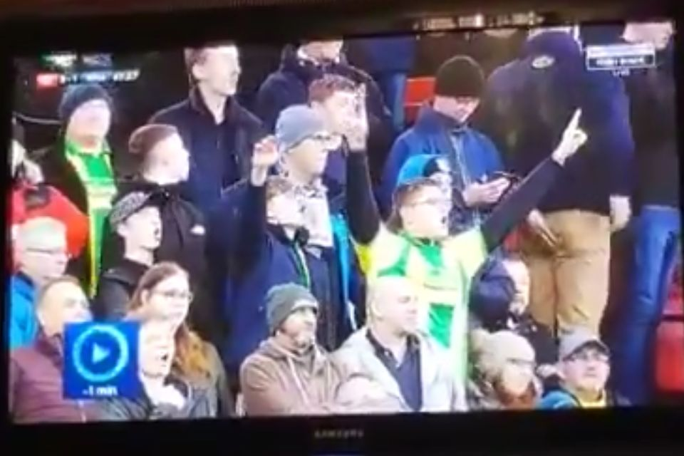West Brom fan holds a hand over his bottom and seems to run off to the toilet at Bristol City during 3-2 defeat