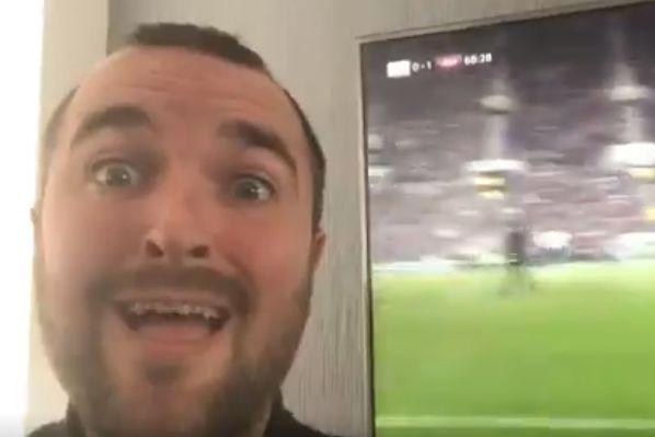 West Ham fan recreates Harry Kane's Champions League celebration video in front of Michail Antonio's winner at Tottenham