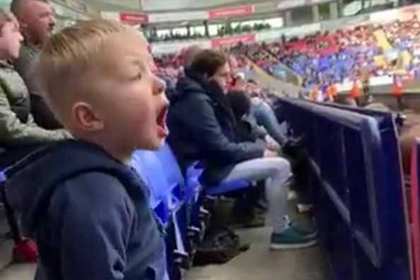 "Child Bolton fan sounds frustrated as he yells ""Come on Bolton"" at his first game ever"