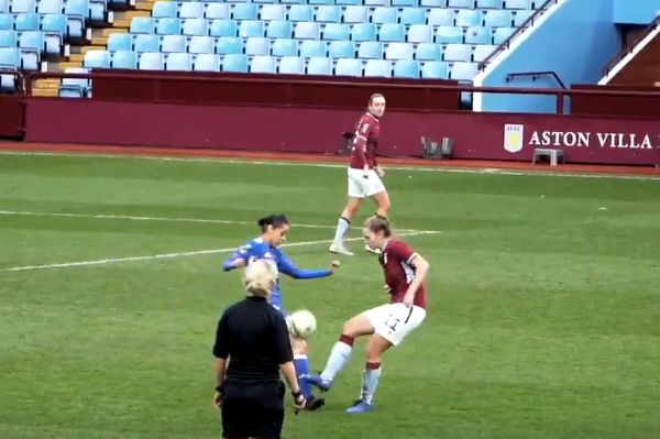 Aston Villa Ladies player of the season Amy West in action against Leicester City