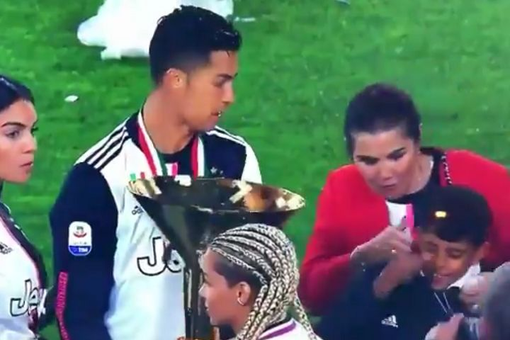 Cristiano Ronaldo hit his son and girlfriend with the Coppa Campioni d'Italia trophy given to Serie A champions Juventus