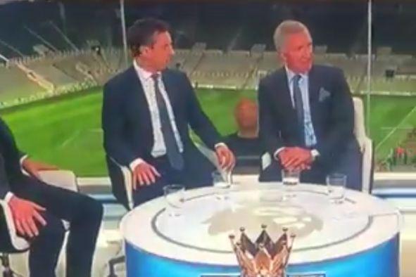 Fan's head in window of Sky Sports studio after Newcastle 2-3 Liverpool