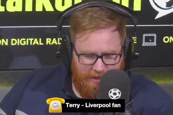 A Liverpool supporter breaks down in tears during a call to talkSPORT host Will Gavin