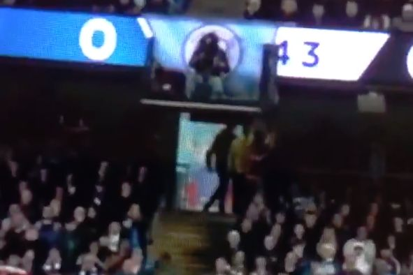 Man City fan walks out as Vincent Kompany scores winner against Leicester at the Etihad