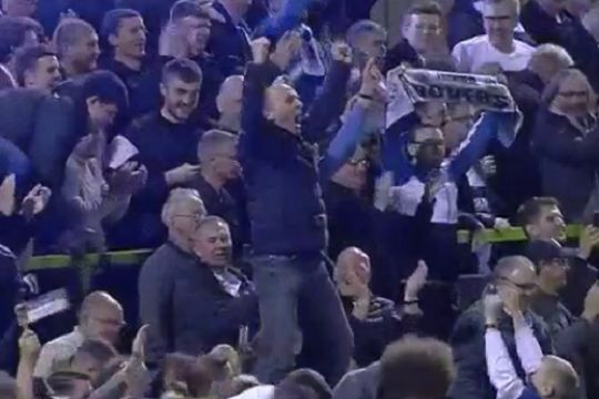 Premier League referee Mike Dean in away end at Forest Green as Tranmere win League Two play-off semi-final