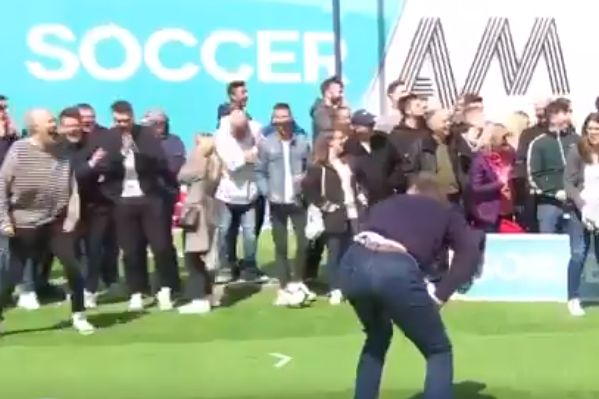 Tony Adams blasts a free kick into a crew member's head while appearing on Soccer AM