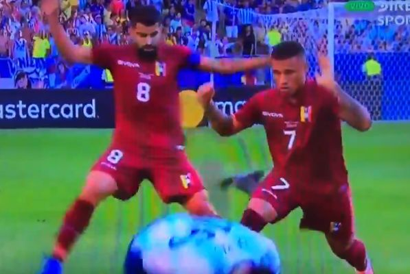 Argentina's Rodrigo De Paul is tackled by a pigeon during the Copa América quarter-final against Venezuela