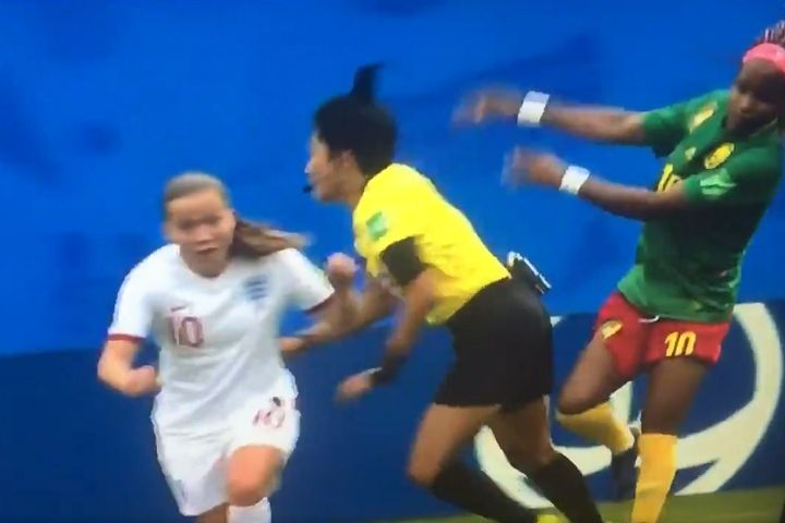 Cameroon player pushes referee at Women's World Cup round of 16 game against England