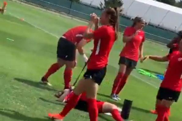 Canada Women's team use bug spray in training during 2019 World Cup in France