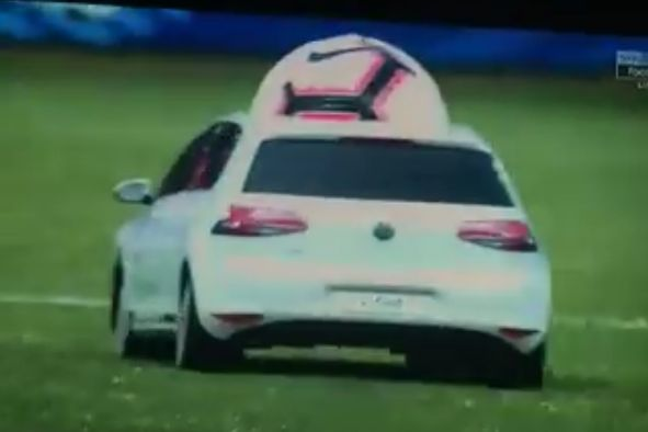Remote controlled car brings out the match ball for France vs Bolivia friendly