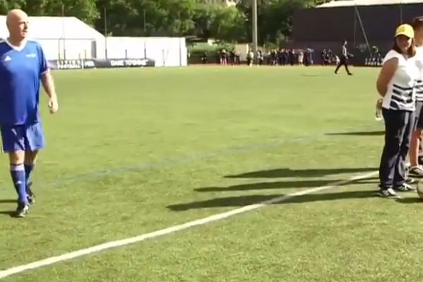 FIFA president Gianni Infantino put a corner kick straight out of play during a tournament match