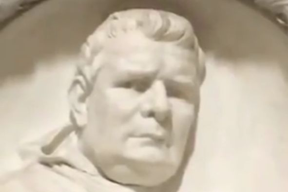 John Motson lookalike bust in Naples Cathedral
