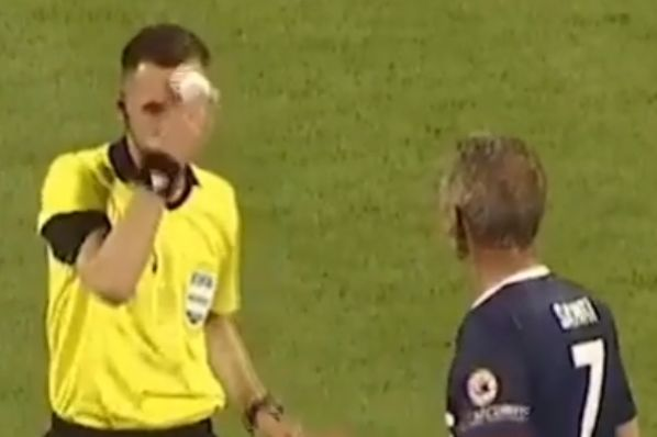 Referee trolls player by taking out tissues instead of a card during Kosovan charity match
