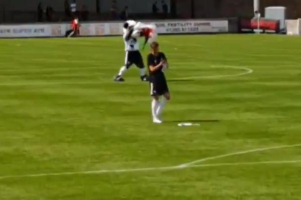 Ayr Utd mascot taunts Kilmarnock by waving Wales flag on pitch while Tom Jones song plays