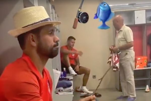 Atlético Madrid's Diego Costa pretends to fish