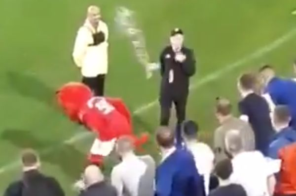 Leeds fans throw drinks at Man Utd mascot Fred the Red after he taunts them in Australia