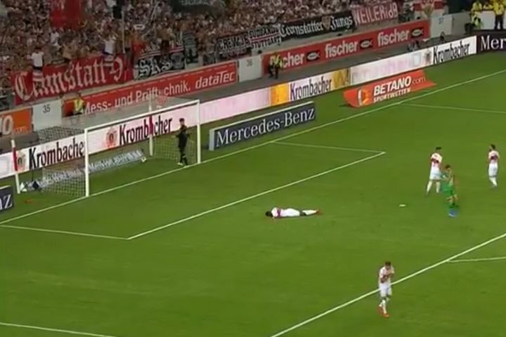 Stuttgart's Maxime Awoudja scores an own goal before being sent off on his debut, a 2-1 win over Hannover 96