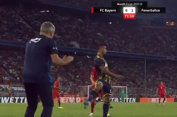 Fenerbahçe's Nabil Dirar puts the ball out of play and leaves the pitch after getting booed by own fans against Bayern Munich
