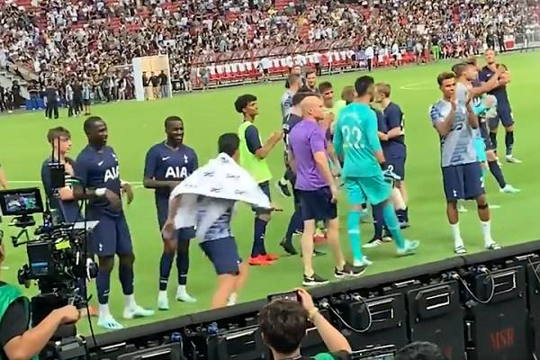 Son Heung-min pretends to be a pitch invader after Juventus 2-3 Spurs in the International Champions Cup in Singapore