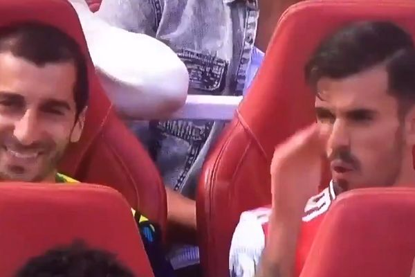 Arsenal's Dani Ceballos complains to Henrikh Mkhitaryan about Burnley's long balls on bench at Emirates