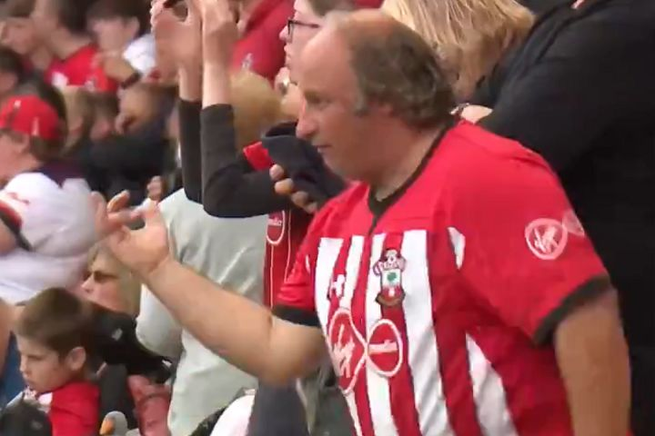 Dancing Southampton fan at St Mary's before 1-1 draw with Man Utd