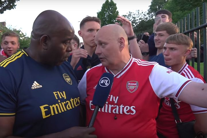 Fan strokes heads of Robbie and Claude on Arsenal Fan TV