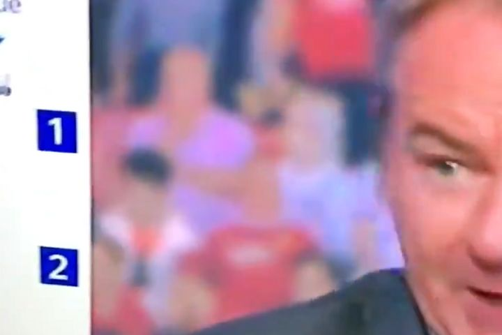 Man Utd fan takes off shirt and throws it on the floor during defeat to Crystal Palace at Old Trafford, behind Charlie Nicholas on Sky Sports News
