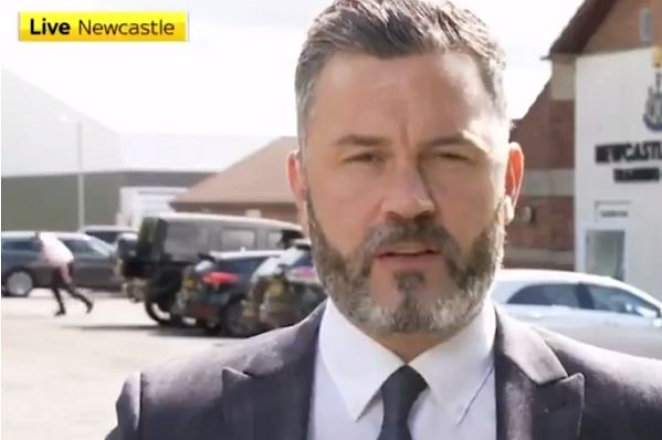 Man trips during Sky Sports broadcast from Newcastle United training ground on transfer deadline day