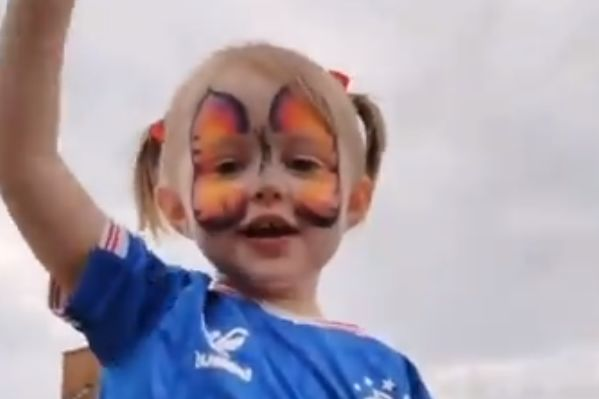 Young Rangers fan on her father's shoulders sings the Andy Halliday song