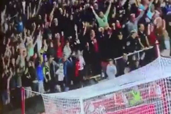 Bournemouth fan falls onto netting in front of his seat after goal at Southampton