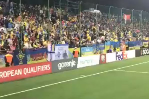 Lithuania and Ukraine fans chant each other's country's name at Euro 2020 qualifying match