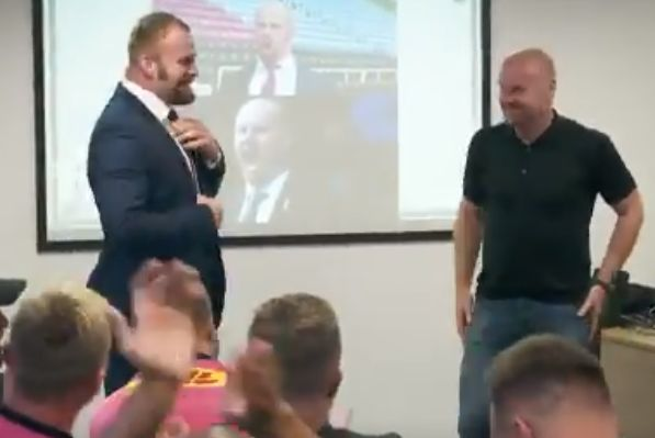 Burnley manager Sean Dyche meets his lookalike, Harlequins player James Chisholm