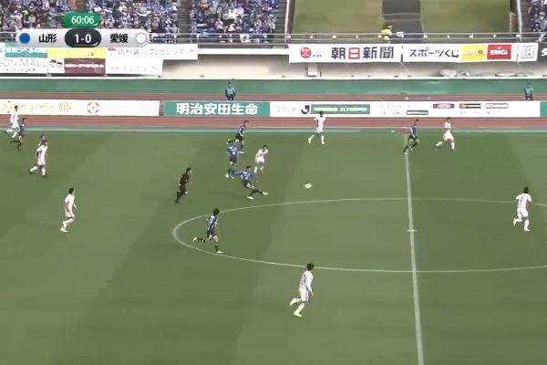 J2 League side Montedio Yamagata score the first of two quickfire goals from their own half