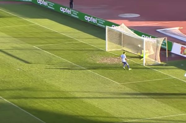 Slaven Belupo think they've scored when they see Hajduk Split goalkeeper hitting the back of the net