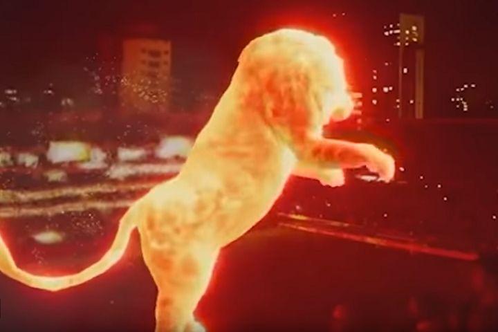 Estudiantes display huge lion hologram at stadium reopening