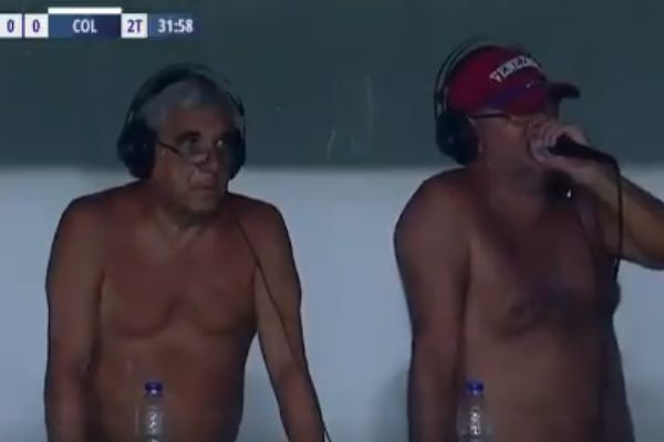 Argentine commentators cover C. Córdoba vs Colón without shirts on due to heat