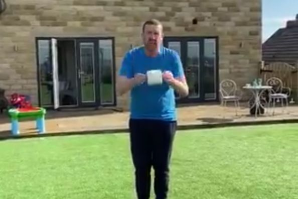 Retired goalkeeper Mark Crossley falls into flowerbed while doing kick-ups with toilet roll in his garden